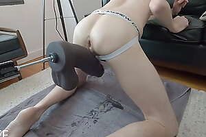 Smooth Prolapsed Cunt fucked so hard on fuck machine piss comes out!