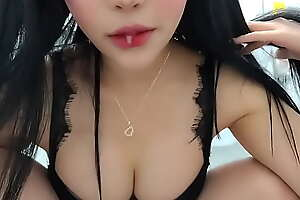 Korean babe with big boobs spitting