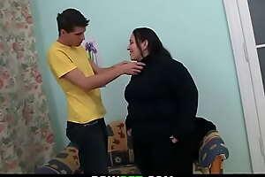 He picks up cute fatty and fucks her