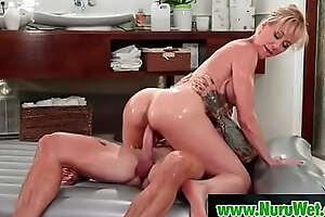 Busty milf masseuse rides her client covered in nuru gel - Brandi Love, Dean Van Damme