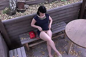 Voyeur with a hidden camera spying on brunette outdoor. Public pissing and hairy pussy masturbation. Fetish compilation.