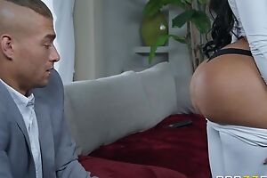 Black-haired bitch with fake tits and ass fucks Xander in bed