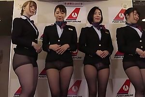 Group of Asian stewardesses getting fucked good and proper