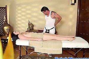 Alluring amateur deepthroats masseurs cock