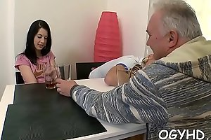 Old dick rams youthful pussy and mouth