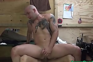 Tattooed soldier strips and gets pounded