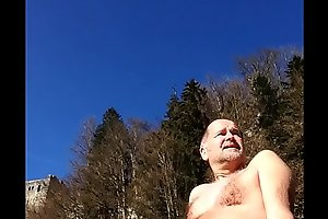 skinny-dipper with erection in public
