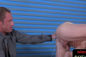 Hunky gay master digs in and out of ass