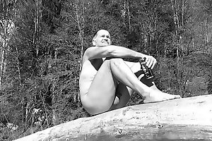 nudist bear with small, soft penis
