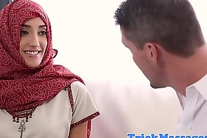 Forbidden arab babe facialized during massage