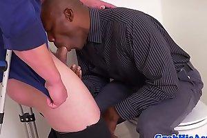 Ebony office stud blows bosses cock