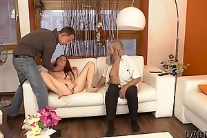 DADDY4K. Adorable Vanessa comes closer to her boyfriend&rsquo_s bearded dad