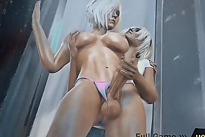 Shemale Handjob in the Shower - Girl masturbating big dick Tranny  3d Futanari Hentai Porn Animated Game