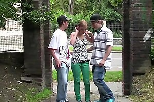 Daring public street sex threesome orgy with cute young teen girl Alexis Crystal
