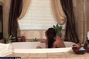 Teasing beauty massages hard cock