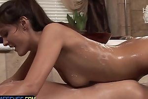 Amazing babe stroking cock in the bathtub