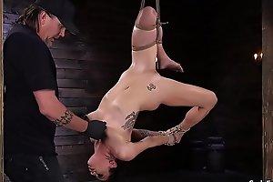 Blindfolded slut pussy banged with dildo