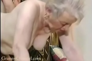 Fancy old grandma gets fucked in her house.