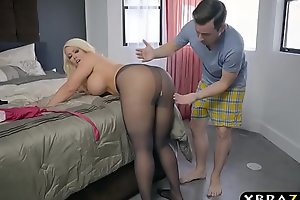 Bbw stepmom is excited and desires a youthful weenie in her large gazoo