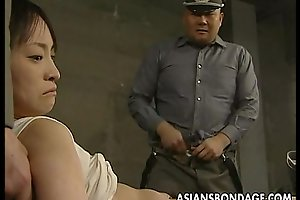 Japanese hottie held down and stuffed with corpulent weenies