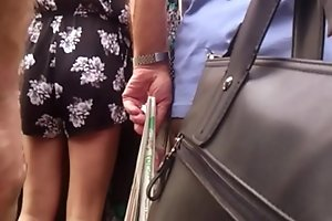 Touch and fingering milf on bus