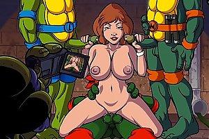 Turtles Ninja - Whoa Whoa Whoa, PIZZA! : April Gangbang