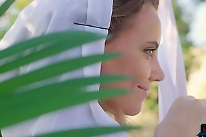 Perfect body Russian MILF Katya Clover posing open-air