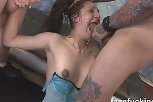 (new) Small titted slut Trish Kiss gets her throat rammed and assfucked