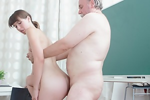 Marisa is a struggling student and finding school hard. She will do anything to improve her grade and having sex with her teacher might just work