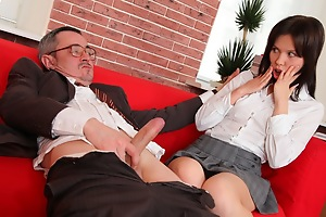 A great tricky old teacher movie with two babes instead of one. This teacher is really up on his game to get them both sucking on his cock and fucking him.