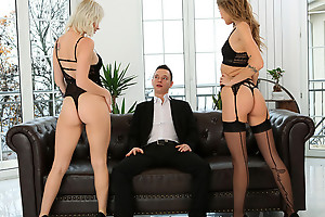 Lingerie loving babes Azazai and Tiffany Tatum work together to seduce their lover into a pussy pleasing threesome