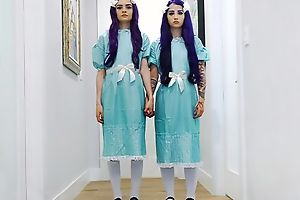 Pair of ghostly twins getting fucked good and proper