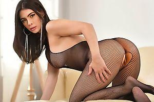 Glamorous brunette gets properly fucked in the living room