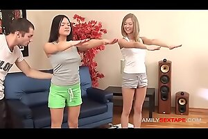 Naughty step-bro artifices innocent stepsisters into bonking him